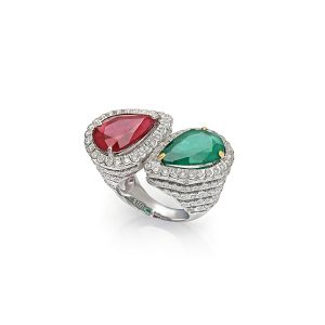 Signature Ruby, Emerald Ring