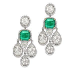 Dew Drop Emerald & Diamond Earrings
