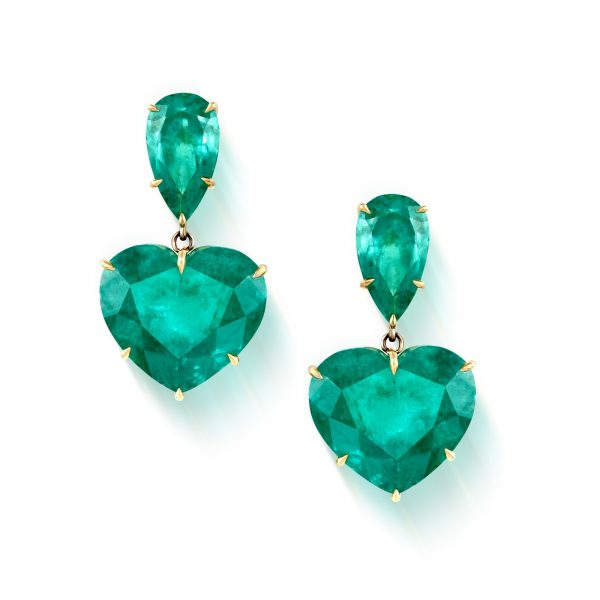 Heart to Heart Emerald Earrings