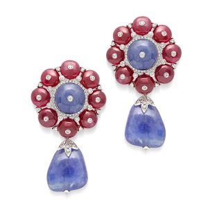 Tanzanite, Ruby & Diamond Fiori Di Bubble Earrings