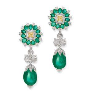 Marquis De Chartreuse Emerald Diamond Earrings