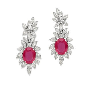 Classic Ruby & Diamond Earrings