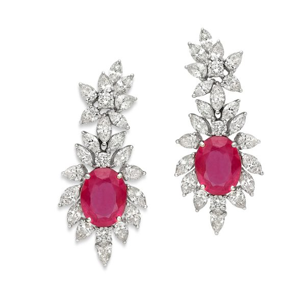 Ruby and Diamond Earrings for Women