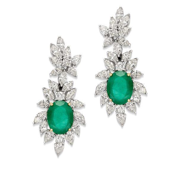 Classic Emerald & Diamond Earrings