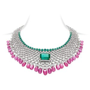 Emerald & Pink Sapphire Necklace