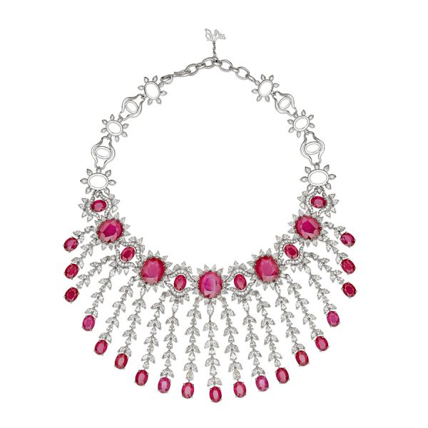 Classic Ruby & Diamond Bridal Necklace