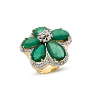 Emerald Floral Diamond Cocktail Ring