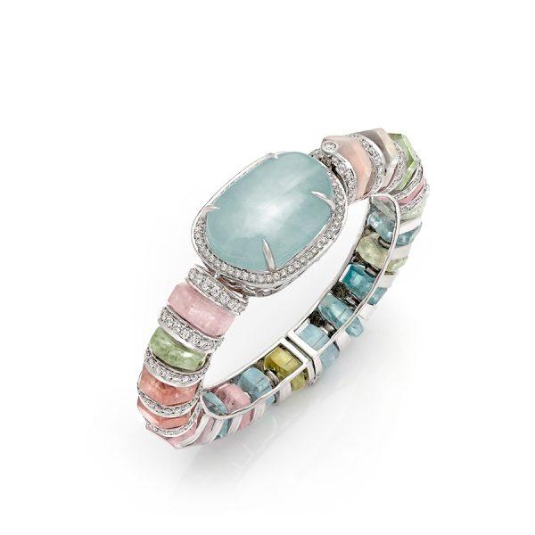 Aquamarine & Diamond Pastello di Aqua Bracelet