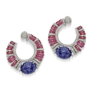 Ruby & Tanzanite Hoop Earrings
