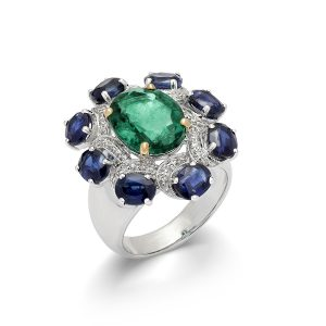 Emerald & Kinite Bouquet Ring
