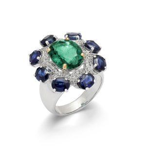 Emerald & Kinite Bouquet Ring
