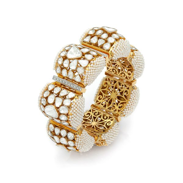 Jadau Bracelet with Diamonds and Pearls