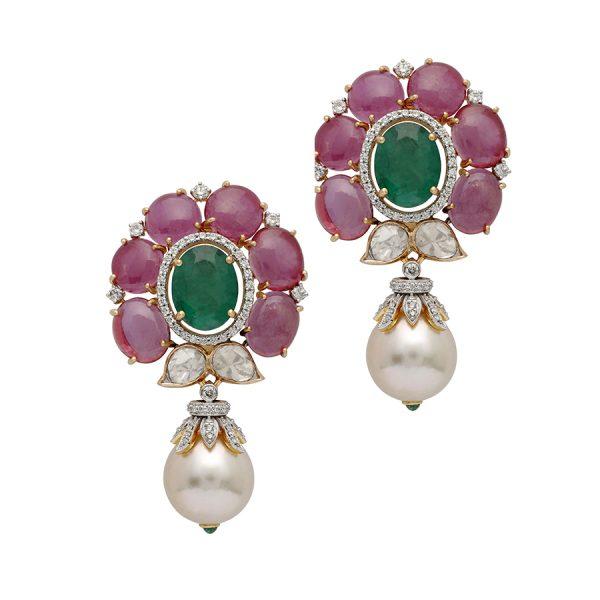 Ruby, Emerald & Pearl Drop Earrings
