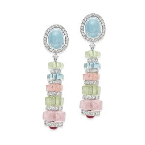 Aquamarine, Ruby & Diamond Pastello di Aqua Earrings