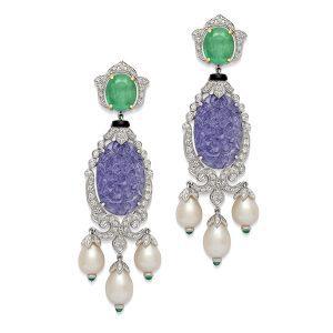 Carved Tanzanite Diamond Earrings