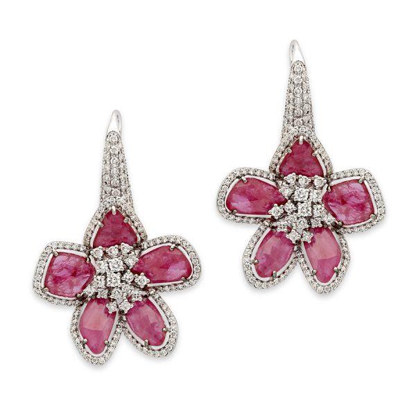 Ruby & Diamond Floral Fantasy Earrings