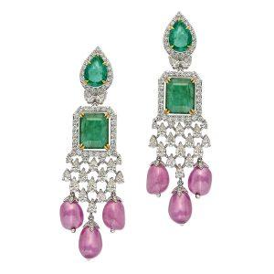 Emerald, Pink Sapphire & Diamond Earrings