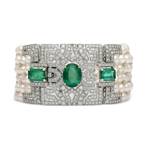 Art Deco Motif Pearl Diamond Bracelet