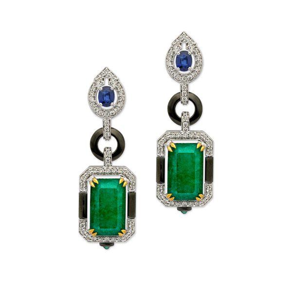 Art Deco Emerald Diamond Earrings