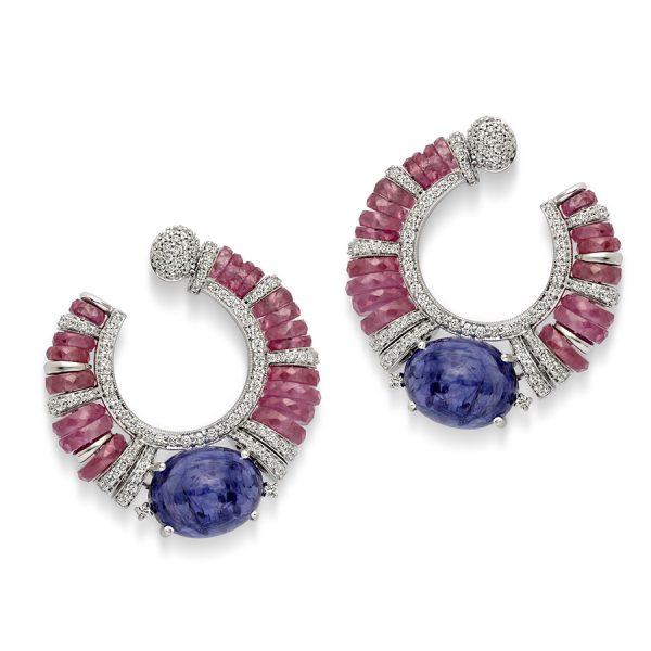 Buy Ruby, Diamond & Tanzanite Hoop Earrings