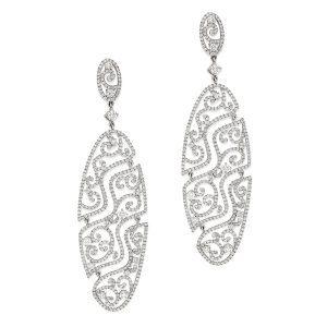 Art Deco Diamond Filigree Earrings