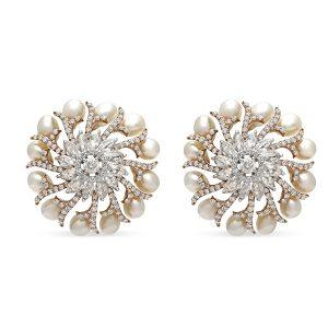 Pearl Diamond Spiral Reef Earrings