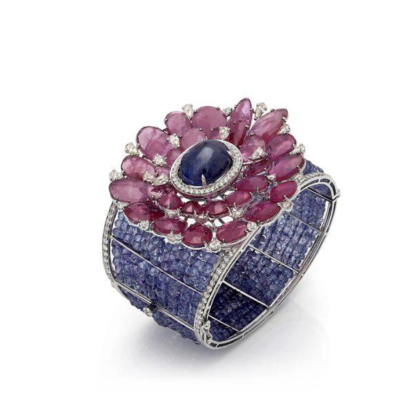 Tanzanite, Ruby & Diamond Fiori Cuff Bracelet