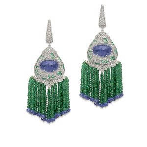 Emerald Tanzanite Diamond Flair Earrings