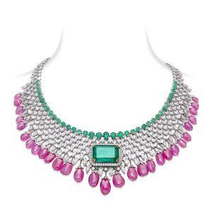Emerald, Pink Sapphire Diamond Necklace