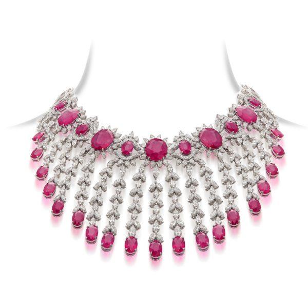 Classic Ruby & Diamond Bridal Necklace