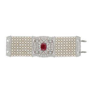 Art Deco Pearl Diamond Bracelet