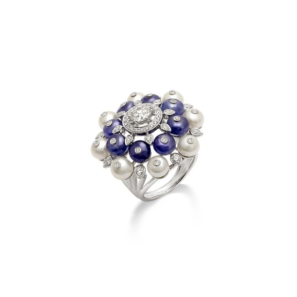 Tanzanite and Pearl Bubble Ring