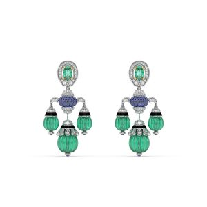 Tanzanite Emerald Drop Earrings