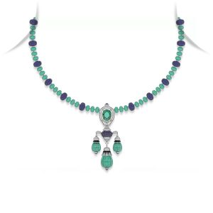 Tanzanite Emerald Drop Pendant Necklace