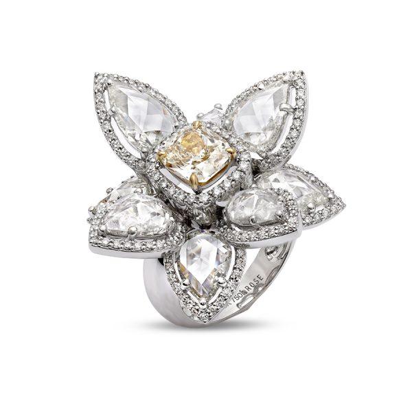 Golden Iris Diamond Ring
