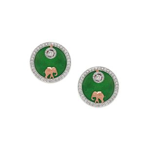 Elephant Medallion Diamond Earrings