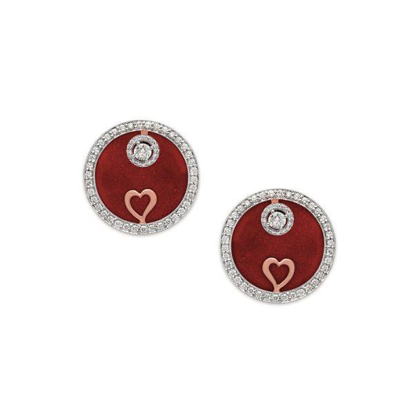 Heart Medallion Diamond Earrings