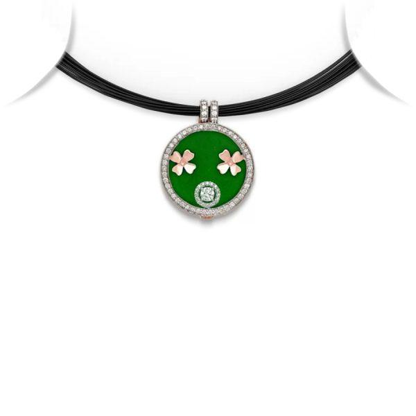 Clover Motif Medallion Pendant Necklace