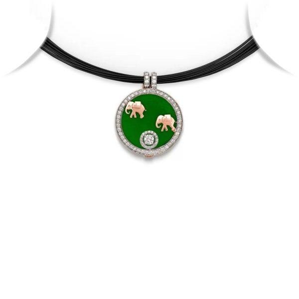 Elephant Motif Medallion Pendant Necklace