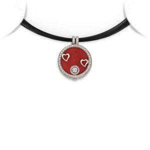 Heart Motif Medallion Pendant Necklace