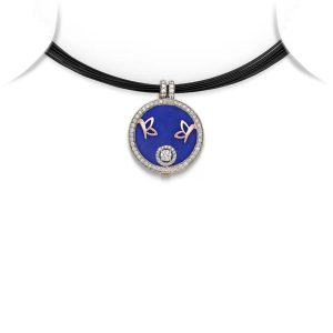 Butterfly Motif Medallion Pendant Necklace