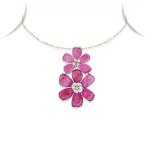 Ruby and Diamond Floral Pendant Necklace