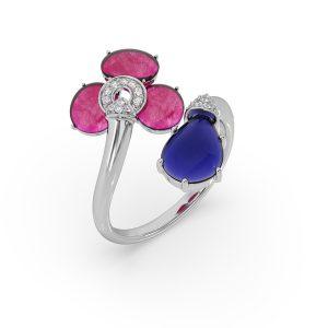 Ruby and Tanzanite Drop Ring