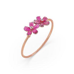 Ruby and Diamond Floral Bracelet