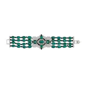 Art Deco Emerald & Black Onyx Diamond Bracelet