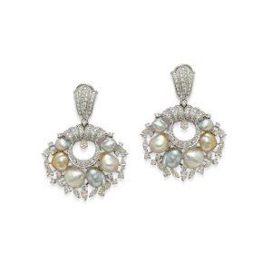 Keshi Pearl Diamond Hoop Earrings