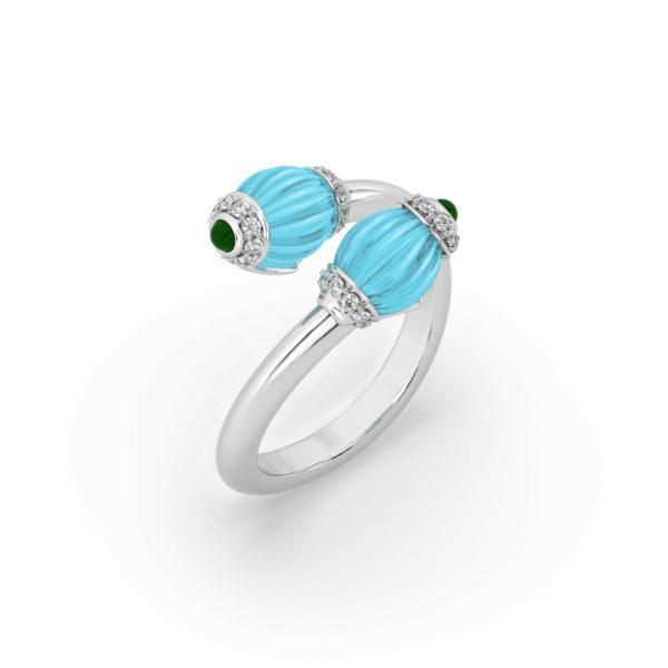 Chalcedony, Turquoise & Diamond Ring