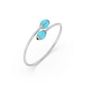 Chalcedony, Turquoise & Diamond Bracelet