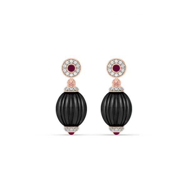 Black Onyx, Diamond and Ruby Hanging Earrings