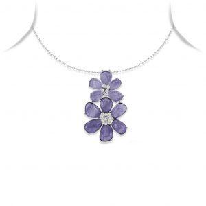 Tanzanite and Diamond Floral Pendant Necklace